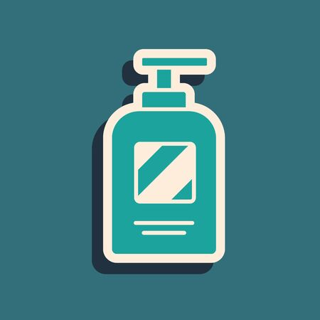 Green Bottle of shampoo icon isolated on green background. Long shadow style. Vector Illustration 向量圖像