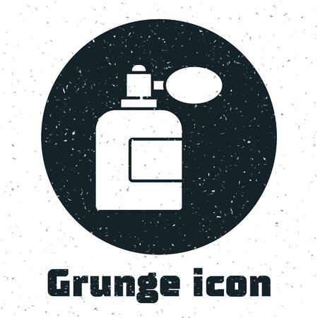 Grunge Aftershave bottle with atomizer icon isolated on white background. Cologne spray icon. Male perfume bottle. Monochrome vintage drawing. Vector Illustration