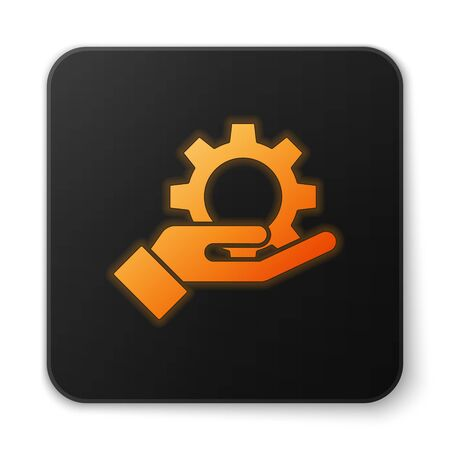Orange glowing neon Hand settings gear icon isolated on white background. Adjusting, service, maintenance, repair, fixing. Black square button. Vector Illustration
