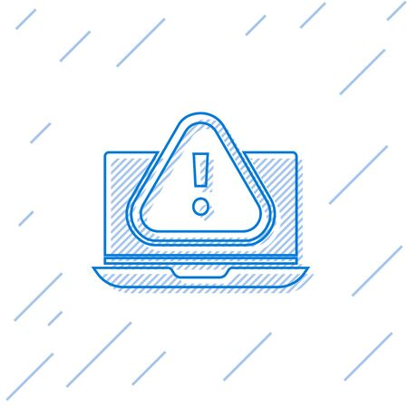 Blue line Laptop with exclamation mark icon isolated on white background. Alert message smartphone notification. Vector Illustration