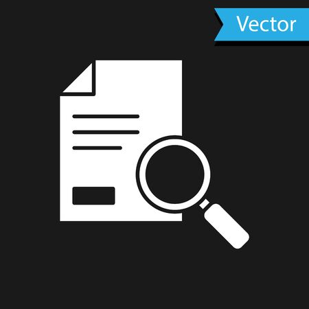 White Document with search icon isolated on black background. File and magnifying glass icon. Analytics research sign. Vector Illustration  イラスト・ベクター素材