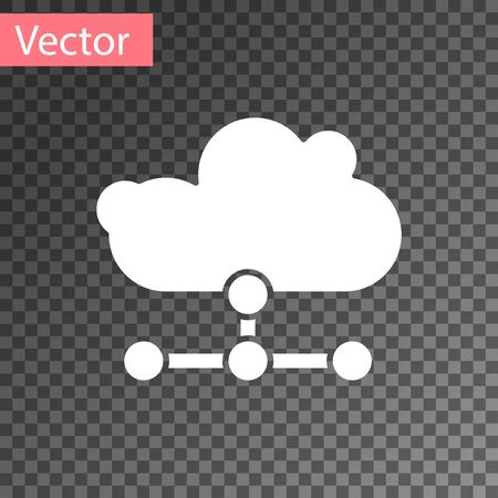 White Network cloud connection icon isolated on transparent background. Social technology. Cloud computing concept. Vector Illustration 向量圖像