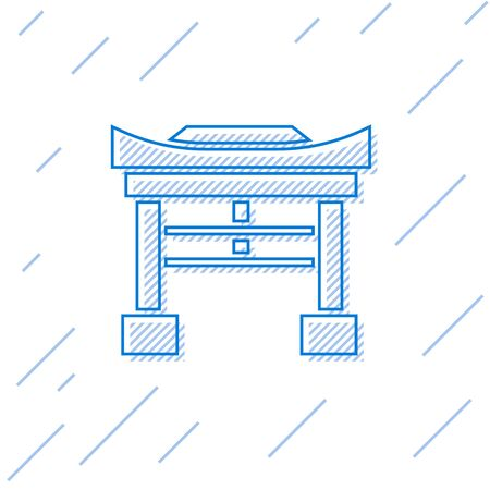 Blue line Japan Gate icon isolated on white background. Torii gate sign. Japanese traditional classic gate symbol. Vector Illustration 向量圖像