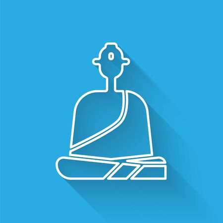 White line Buddhist monk in robes sitting in meditation icon isolated with long shadow. Vector Illustration