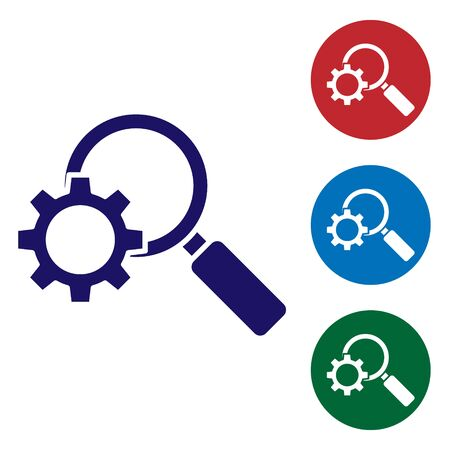 Blue Magnifying glass and gear icon isolated on white background. Search gear tool. Business analysis symbol. Set icons in color square buttons. Vector Illustration  イラスト・ベクター素材