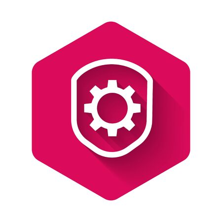 White Shield with settings gear icon isolated with long shadow. Adjusting, service, maintenance, repair, fixing. Pink hexagon button. Vector Illustration