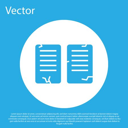 Blue The commandments icon isolated on blue background. Gods law concept. White circle button. Vector Illustration