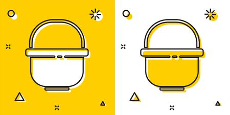 Black Camping pot icon isolated on yellow and white background. Boil or stew food symbol. Random dynamic shapes. Vector Illustration 向量圖像