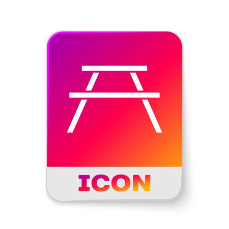 White Picnic table with benches on either side of the table icon isolated on white background. Rectangle color button. Vector Illustration