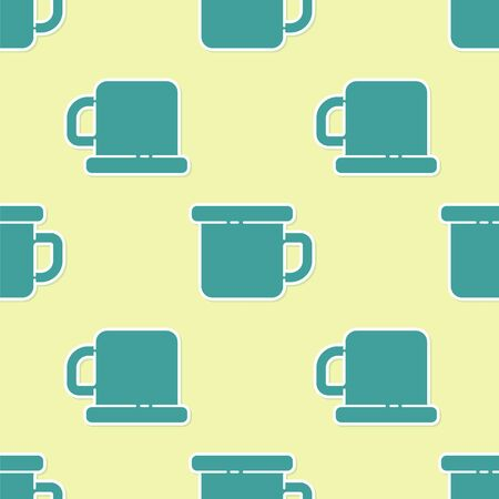 Green Camping metal mug icon isolated seamless pattern on yellow background. Vector Illustration