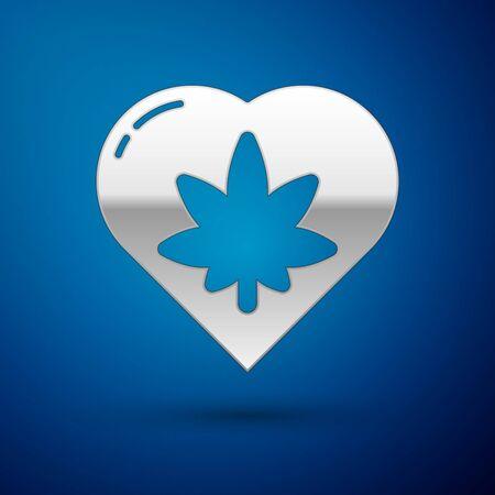Silver Marijuana leaf in heart shape icon isolated on blue background. Hemp symbol. Vector Illustration