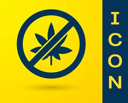 Blue Stop marijuana or cannabis leaf icon isolated on yellow background. No smoking marijuana. Hemp symbol. Vector Illustration