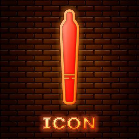 Glowing neon Marijuana joint, spliff icon isolated on brick wall background. Cigarette with drug, marijuana cigarette rolled. Vector Illustration
