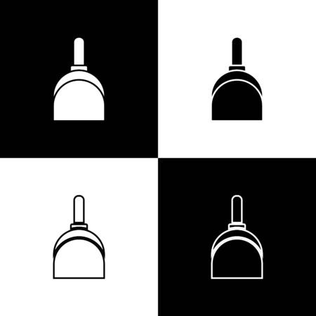 Set Dustpan icon isolated on black and white background. Cleaning scoop services. Vector Illustration