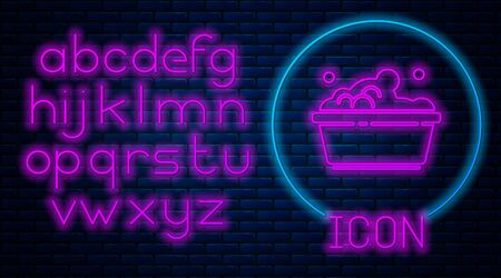 Glowing neon Plastic basin with soap suds icon isolated on brick wall background. Bowl with water. Washing clothes, cleaning equipment. Neon light alphabet. Vector Illustration
