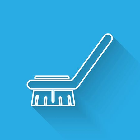 White line Brush for cleaning icon isolated with long shadow. Cleaning service concept. Vector Illustration Stock Illustratie