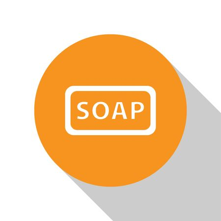 White Bar of soap icon isolated on white background. Soap bar with bubbles. Orange circle button. Vector Illustration 向量圖像