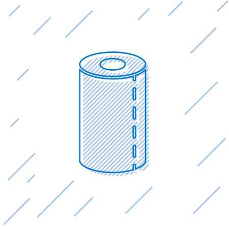 Blue line Paper towel roll icon isolated on white background. Vector Illustration