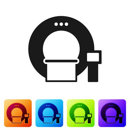 Black Tomography icon isolated on white background. Medical scanner, radiation. Diagnosis, radiology, magnetic resonance therapy. Set icons in color square buttons. Vector Illustration Ilustracja