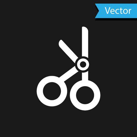 White Medical scissors icon isolated on black background. Vector Illustration