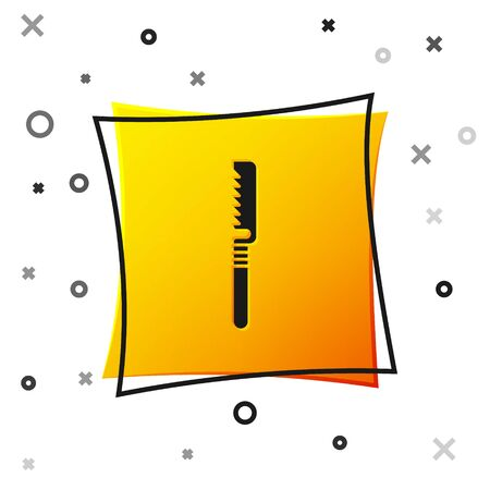 Black Medical saw icon isolated on white background. Surgical saw designed for bone cutting limb amputations and before bone grafting. Yellow square button. Vector Illustration