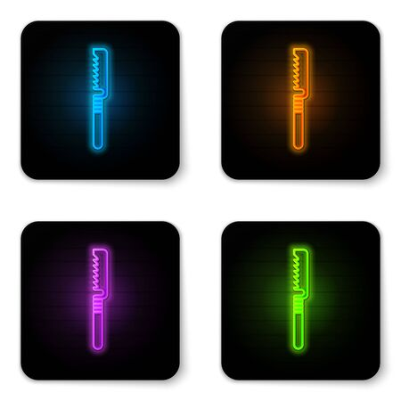 Glowing neon Medical saw icon isolated on white background. Surgical saw designed for bone cutting limb amputations and before bone grafting. Black square button. Vector Illustration