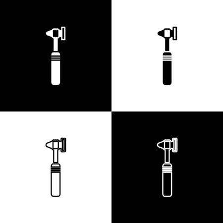 Set Medical otoscope tool icon isolated on black and white background. Medical instrument. Vector Illustration