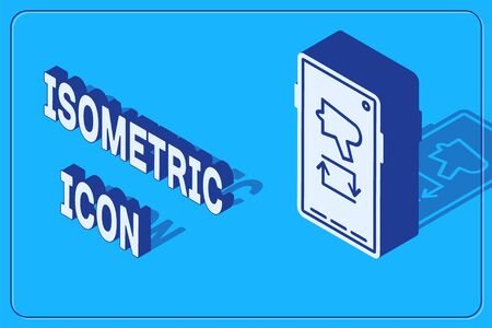 Isometric Spread the word, megaphone on mobile phone icon isolated on blue background. Vector Illustration 向量圖像