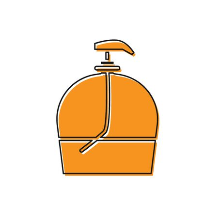 Orange Bottle of liquid antibacterial soap with dispenser icon isolated on white background. Disinfection, hygiene, skin care. Vector Illustration