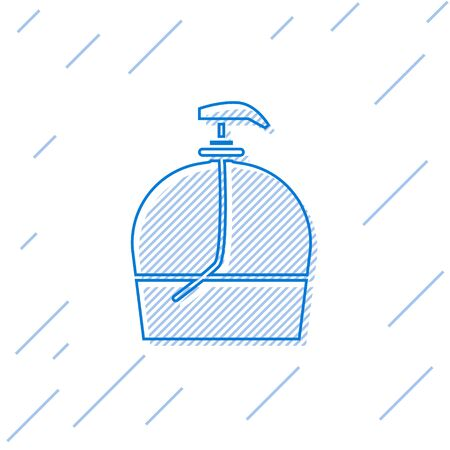 Blue line Bottle of liquid antibacterial soap with dispenser icon isolated on white background. Disinfection, hygiene, skin care. Vector Illustration