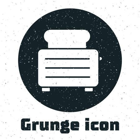 Grunge Toaster with toasts icon isolated on white background. Monochrome vintage drawing. Vector Illustration