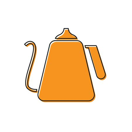 Orange Kettle with handle icon isolated on white background. Teapot icon. Vector Illustration
