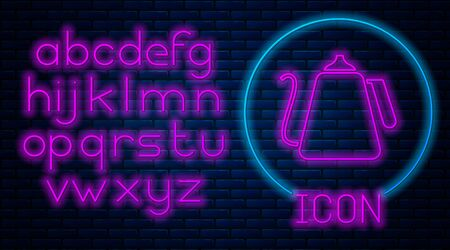 Glowing neon Kettle with handle icon isolated on brick wall background. Teapot icon. Neon light alphabet. Vector Illustration