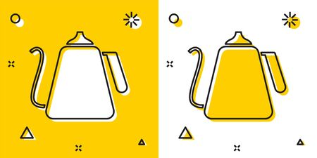 Black Kettle with handle icon isolated on yellow and white background. Teapot icon. Random dynamic shapes. Vector Illustration