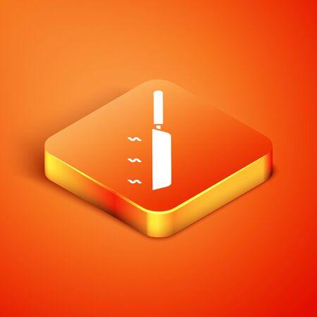 Isometric Frying pan icon isolated on orange background. Fry or roast food symbol. Vector Illustration