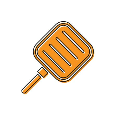Orange Frying pan icon isolated on white background. Fry or roast food symbol. Vector Illustration 向量圖像