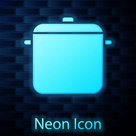 Glowing neon Cooking pot icon isolated on brick wall background. Boil or stew food symbol. Vector Illustration