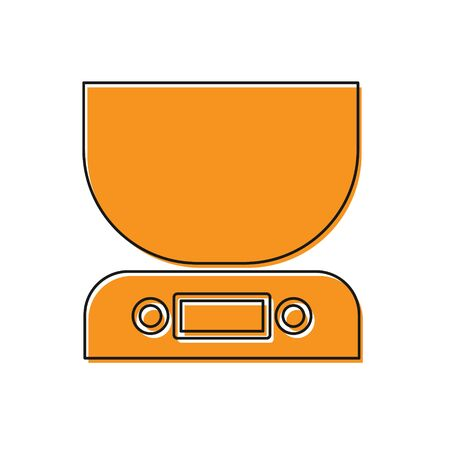 Orange Electronic scales icon isolated on white background. Weight measure equipment. Vector Illustration