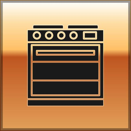 Black Oven icon isolated on gold background. Stove gas oven sign. Vector Illustration