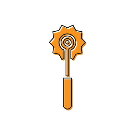 Orange Pizza knife icon isolated on white background. Pizza cutter sign. Steel kitchenware equipment. Vector Illustration