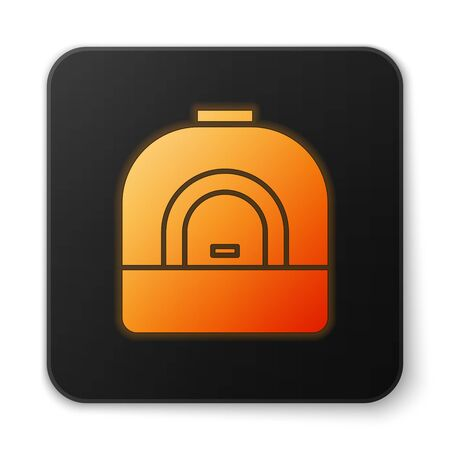Orange glowing neon Oven icon isolated on white background. Stove gas oven sign. Black square button. Vector Illustration 向量圖像