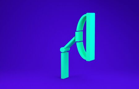 Green Windscreen wiper icon isolated on blue background. Minimalism concept. 3d illustration 3D render