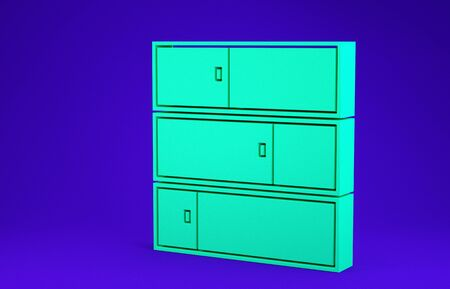 Green Shelf icon isolated on blue background. Shelves sign. Minimalism concept. 3d illustration 3D render Stock Photo