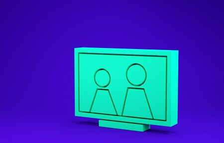 Green Picture frame on table icon isolated on blue background. Minimalism concept. 3d illustration 3D render