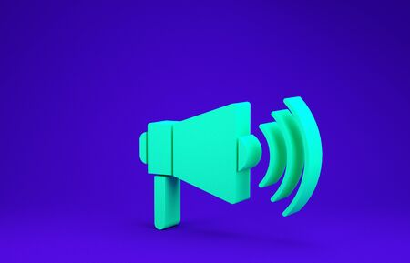 Green Megaphone icon isolated on blue background. Loud speach alert concept. Bullhorn for Mouthpiece scream promotion. Minimalism concept. 3d illustration 3D render