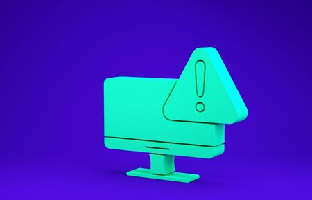 Green Computer monitor with exclamation mark icon isolated on blue background. Alert message smartphone notification. Minimalism concept. 3d illustration 3D render