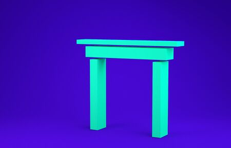 Green Wooden table icon isolated on blue background. Minimalism concept. 3d illustration 3D render
