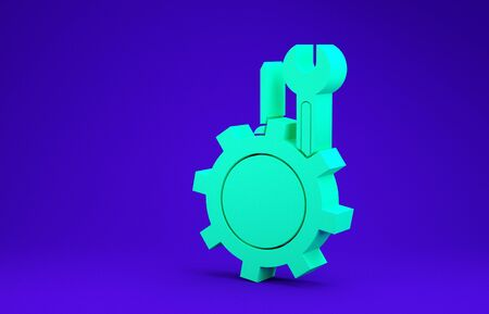 Green Wrench and screwdriver in gear icon isolated on blue background. Adjusting, service, setting, maintenance, repair, fixing. Minimalism concept. 3d illustration 3D render 版權商用圖片