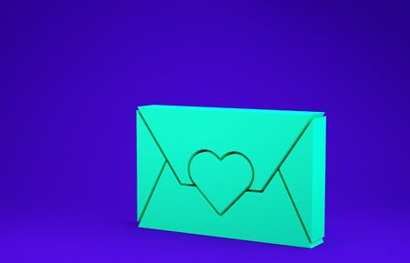 Green Envelope with Valentine heart icon isolated on blue background. Message love. Letter love and romance. Minimalism concept. 3d illustration 3D render