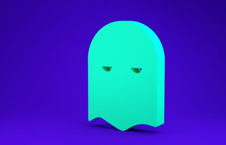 Green Executioner mask icon isolated on blue background. Hangman, torturer, executor, tormentor, butcher, headsman icon. Minimalism concept. 3d illustration 3D render